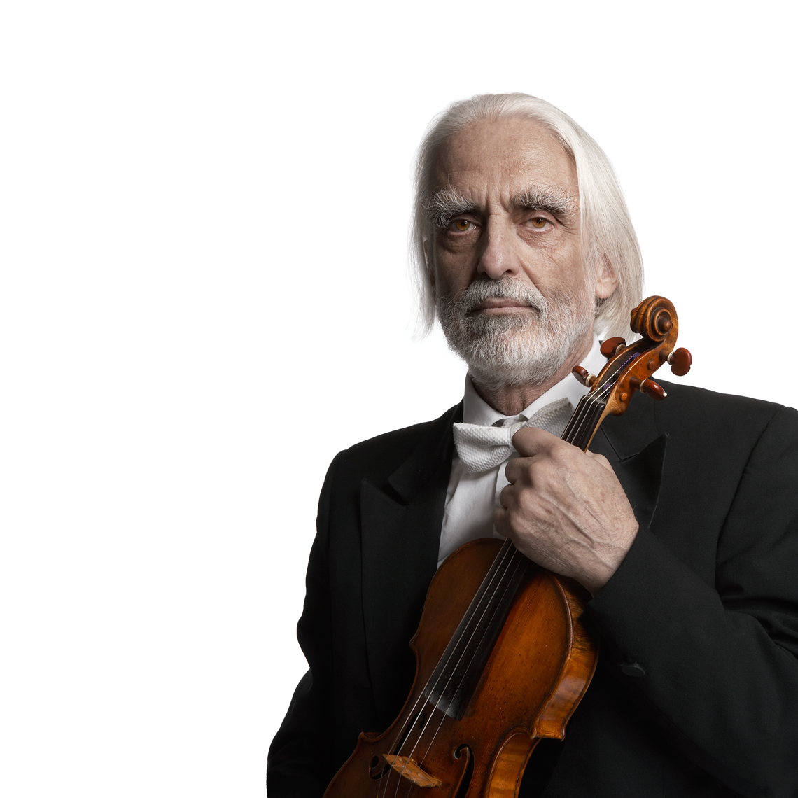 Long white haired man in his tux with violin